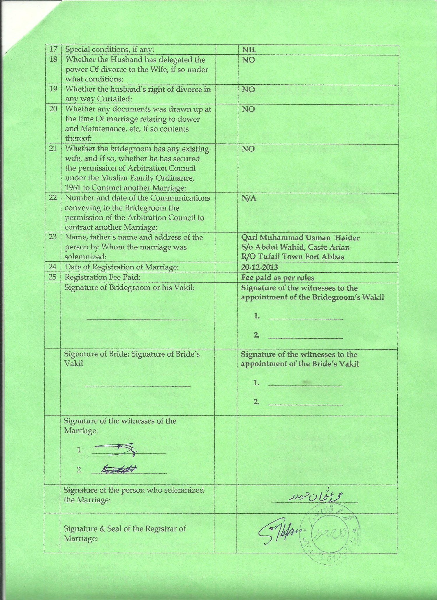 Sample of English Nikah Nama P-2